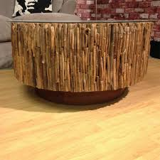 reclaimed rustic driftwood round coffee table with glass top