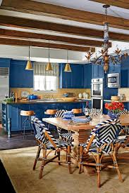 a classic blue and white pattern inspired this amazing kitchen