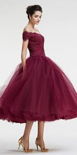 tea length gown shoulder sleeves burgundy tulle prom