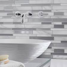 Smart Tiles Milano Carrera  In W X  In H Peel And Stick - Home depot tile backsplash