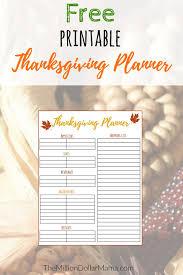 free printable thanksgiving menu planner shopping list