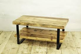 reclaimed timber coffee table with shelf 2 level coffee table