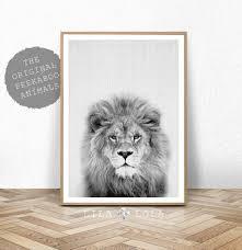 lion print safari nursery animal wall art baby shower decor zoom