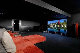 Home Theater Rug Black Theater Wall Theme And Rectangle Screen Combined By Orange