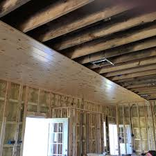 starting tongue and groove ceiling installation whiskey
