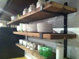 Open Metal Shelving Kitchen by Rustic Wood Shelves With Metal Straps Like This With All White