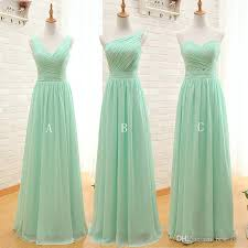 mint green cheap bridesmaid dresses 2017 pleated chiffon a line
