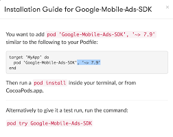 Google Pod by Admob Ios Wrong Instruction In Installing Google Mobile Ads Sdk