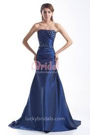 royal blue strapless trumpet beaded satin long prom dress