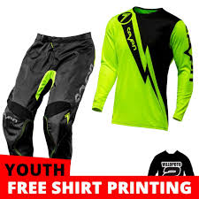kids motocross gear combo kinetic glitch red riding jersey pant glove fly youth motocross