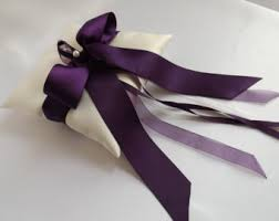 eggplant ribbon purple ring pillow etsy