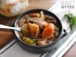 slow cooker rosemary garlic beef stew budget bytes