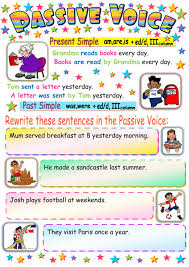 passive voice present and past simple interactive worksheet