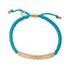 cord macrame bracelet images Lyst michael kors goldtone logo plaque and turquoise macrame jpeg