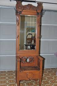 Front Hall Bench by Antique Oak Entry Hall Tree With Storage Bench U0026 Beveled Mirror