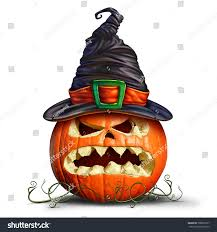 pumpkin wearing witch hat orange monster stock illustration