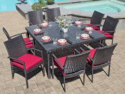 havana 9 pc aluminum u0026 woven resin wicker dining set with 60