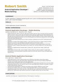 banking resume exles android application developer resume sles qwikresume