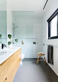 Black White Grey Bathroom Ideas by Coastal Modernity On The Mornington Peninsula Timber Vanity