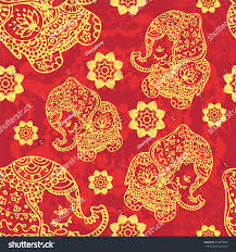 gold elephant pattern indian style stock vector 219655606