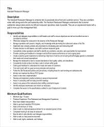 resume template for assistant restaurant manager resume template 6 free word pdf document