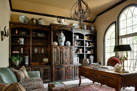 Home Office With Sofa Leather Fabric Sofa Home Office Traditional With Arched Window