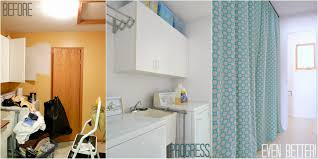 How To Make A Curtain Room Divider - hide a washer and dryer with easy diy gathered laundry room