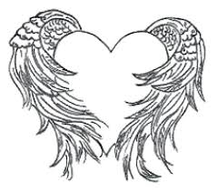 hearts with wings coloring pages feminine wing