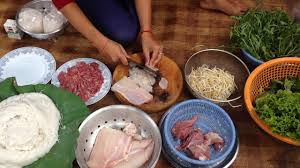 family food in asia preparing food for lunch marking cambodian
