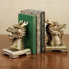 golden chinese dragon bookend pair