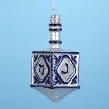 4 5 noble gems glass blue and silver hanukkah dreidel ornament