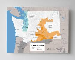 Detailed Map Of Washington State by Detailed Map Of Wine Regions In Washington Usa Wine Posters