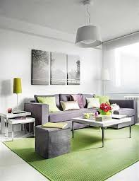 livingroom bench green carpet on white ceramic flooring tiles in modern apartment