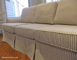 custom sofa slipcover in cotton ticking fabric love the black and