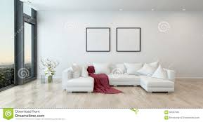 Red Furniture Living Room Red Throw On White Sofa In Modern Living Room Stock Illustration