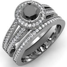 black engagement ring set 1 25 carat ctw 14k white gold white black
