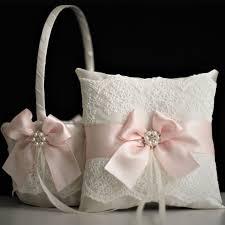 ring pillow blush pink flower girl basket ring bearer pillow set alex emotions