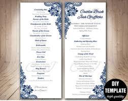 wedding programs diy templates blue wedding program etsy