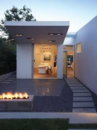 Home Design Modern Minimalist White Color Small Summer House Design With Pathway Concrete Pavers