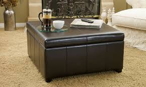 brown leather square ottoman bonded leather storage ottoman groupon goods