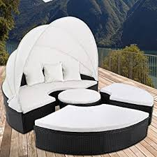 canape de jardin canapé de jardin en polyrotin noir ø 185 cm pare soleil et