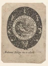 abraham van den hecken horlogedeksel met een sater en een nimf