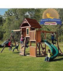 amazon com swing n slide cedar brook play set with two swings