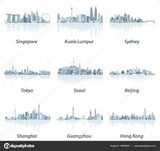 Soft Blue Color Abstract Vector Illustrations Of Singapore Kuala Lumpur Sydney