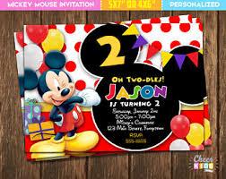 mickey mouse birthday invitations mickey mouse invites etsy