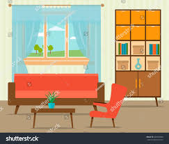 livingroom cartoon living room interior design flat style stock vector 626670893