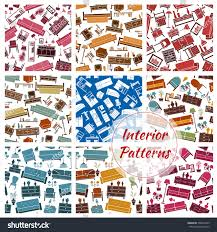home patterns interior furniture home objects patterns set stock vector