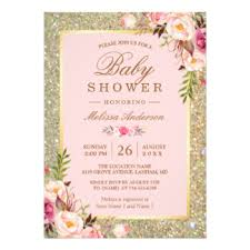 baby shower cards pink and gold invitations announcements on cards zazzle images