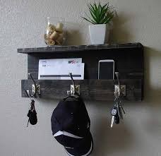 handmade modern rustic entryway wall shelf with coat rack and mail