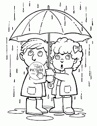 rainy spring season coloring page for kids seasons coloring pages